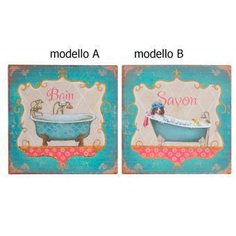 vendita online quadro su tela bagno stile shabby chic con decori vintage industrial roma