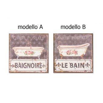 quadro in tela e lino per bagno stile shabby chic con decori vintage provenzale online