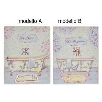 quadro con fiori per bagno in legno provenzale vendita online e negozio roma