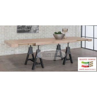 Tavolo Rettangolare INDUSTRIAL LOFT 1 allungabile in legno naturale con gamba in ferro