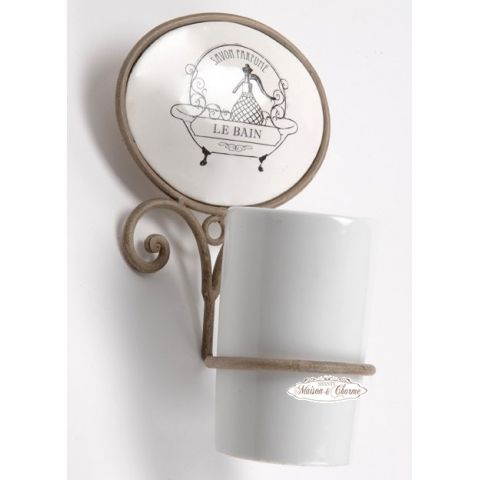Porta spazzolino ecru bagno shabby accessori bagno - Spazzolino bagno ...