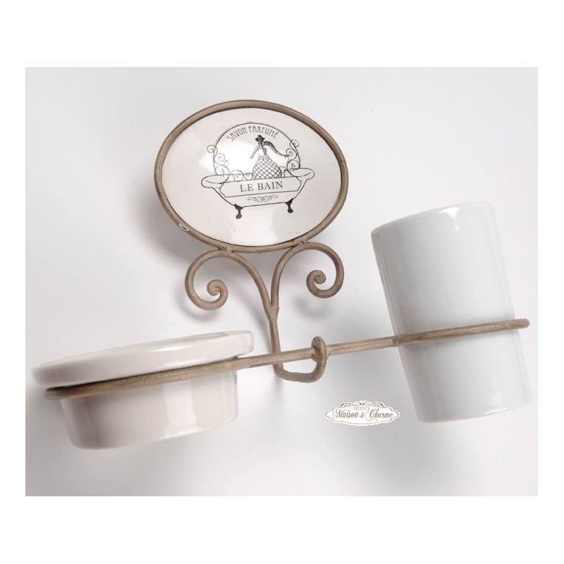 Porta sapone p spazzolino ecru bagno provenzale - Bagno provenzale shabby ...