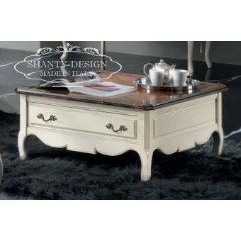 tavolino basso DENISE 3 per soggiorno salotto in legno bianco shabby cottage massello provenzale online