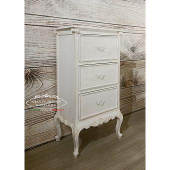 settimino 3 cassetti in legno cottage country chic con fregi ed intarsi stile provenzali vendita online