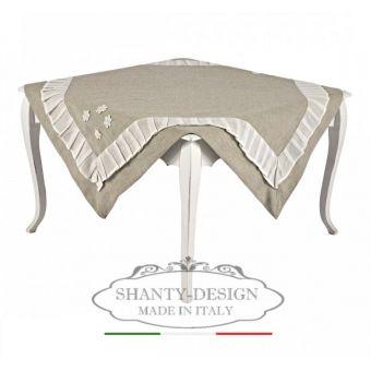 Tovaglia centrotavola quadrata PROVENZALE con pizzo e merletto shabby chic modello ROMA 6 online