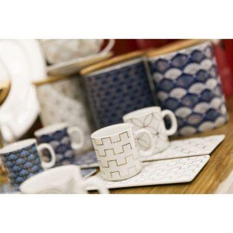 servizio 6 tazzine caffe shabby chic Roma 1 ceramica bianca blu provenzale vendita online