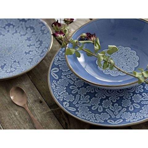 PIATTI SHABBY ROMA 18 pezzi Ceramica Blu