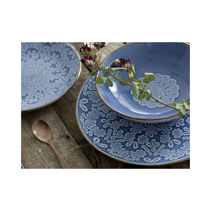Piatti Stile Shabby Chic.Piatti Shabby Roma 18 Pezzi Ceramica Blu Piatti Posate