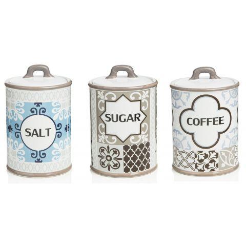 3 BARATTOLI Zucchero - Sale - Caffè SHABBY VINTAGE
