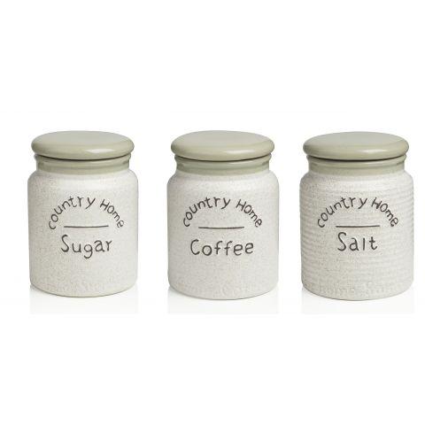 3 BARATTOLI Zucchero - Sale - Caffè COUNTRY CHIC