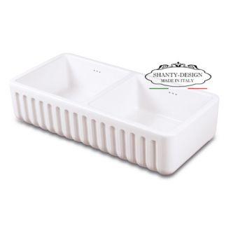 lavello da cucina ROMA 3 stile provenzale in ceramica bianca e lavandino da appoggio shabby
