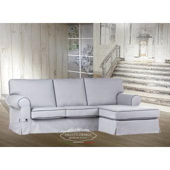 divano angolare ROMA 1 shabby chic 3 posti con tessuto sfoderabile chais lounge relax provenzale.