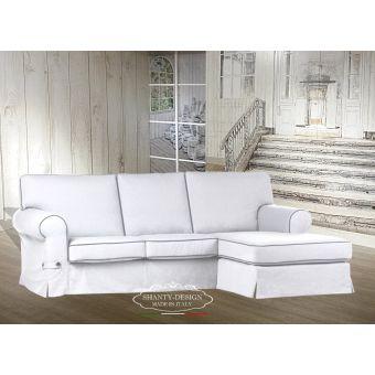 divano angolare ROMA 3 bianco posti con tessuto sfoderabile chais lounge relax provenzale