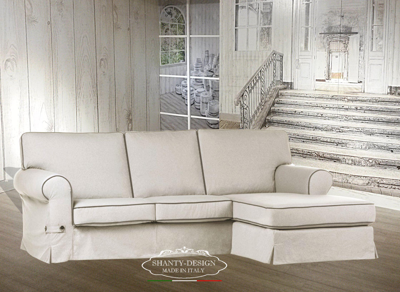 Divano Tessuto Antimacchia Opinioni divano ad angolo 3 posti shabby roma 4 con tessuto sfoderabile divani e  poltrone shabby chic