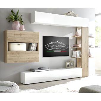 parete attrezzata neo classica shabby  per soggiorno moderno e contemporaneo con base tv roma 3