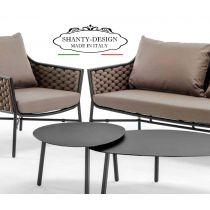 SALOTTINO DA GIARDINO SHABBY  con divano e poltrone impilabili da esterno ROMA 1