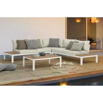 divano angolare giardino shabby in alluminio bianco salotto da esterno outdoor stile moderno ROMA 4.