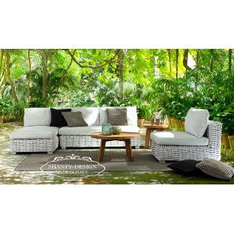 Divano in rattan giardino shabby bianco con chaise lounge ed salotto angolare da esterno ROMA 7