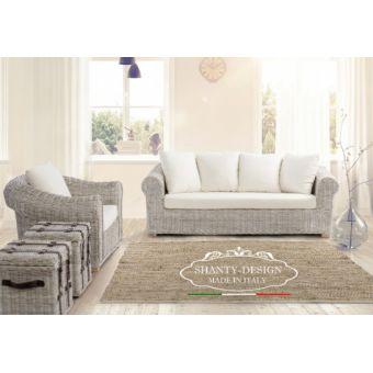 salotto in rattan naturale sbiancato da giardino stile shabby con divano e poltrona rattan da esterno ROMA 6.