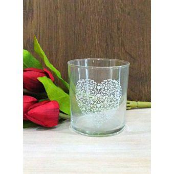 bicchieri acqua con cuore shabby in vetro trasparente per tavola country online roma 3