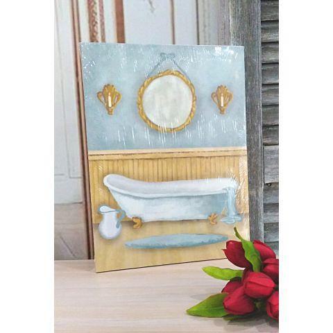 Quadro Bagno dipinto su tela Country Chic ROMA 2