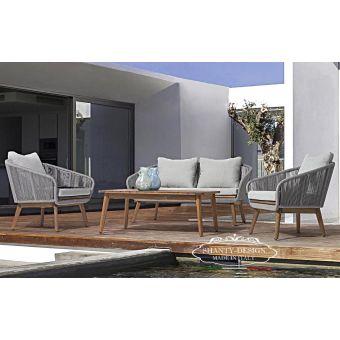 salotto da giardino stile shabby con divano e poltrona in legno da esterno stile moderno online ROMA 8