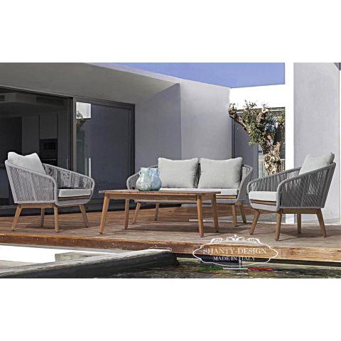 SALOTTO GIARDINO SHABBY in LEGNO_con divano e 2 poltrone da esterno ROMA 8