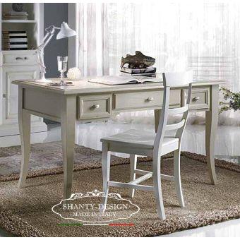 scrivania legno bianca scrittoio shabby country chic vendita online roma con cassetti