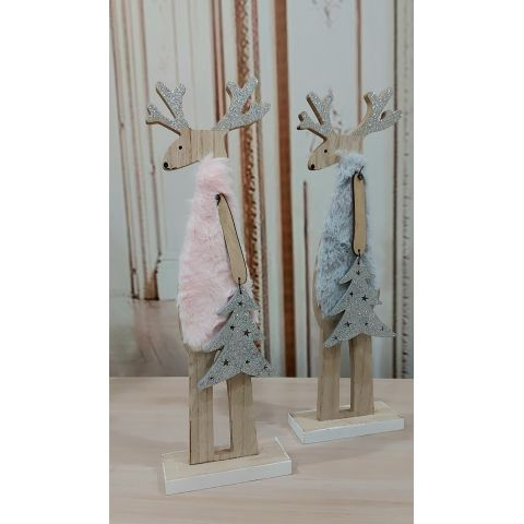 RENNA IN LEGNO NATALE IN STILE SHABBY CON TESSUTO PANNOLEICI COUNTRY CHIC