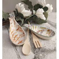 Set 2 Poggiamestoli in ceramica decorata a mano Shabby Chic VIENNA 2