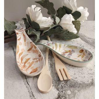 Poggiamestolo in ceramica shabby decorato a mano con motivi floreali country chic roma online 2