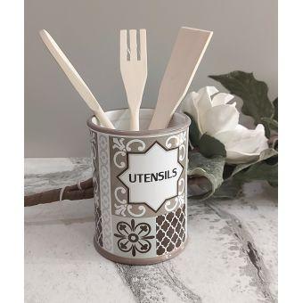 barattolo porta mestoli in ceramica con posata in legno shabby chic per tavola country PARIGI 1
