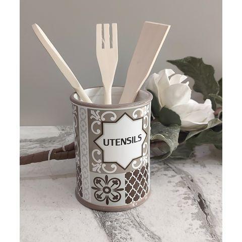 Barattolo porta mestoli in ceramica Shabby Chic con Mestoli in legno - PARIGI 1