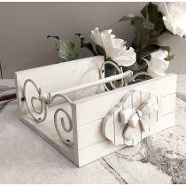 Porta Tovaglioli in legno decapè con pregiata lavorazione del ferro battuto stile Shabby ROMANTIC 1
