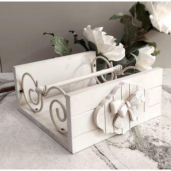 porta tovaglioli in legno shabby chic decapè bianco per tavola country chic ROMANTIC 1