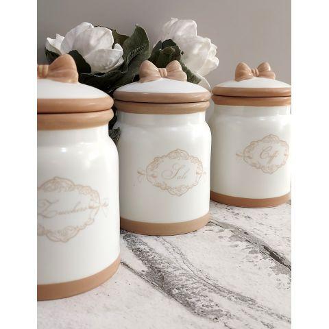 3 BARATTOLI - sale - zucchero - caffè Shabby in ceramica bianca Country Chic - ROMANTIC 3