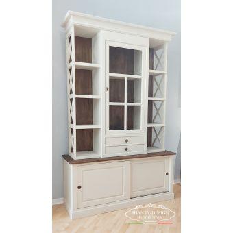 credenza libreria shabby bianca in legno per sala da pranzo e zona studio legno massello online shanty design (2)