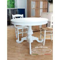 Tavolo allungabile rotondo in legno massello bianco modello INES 9