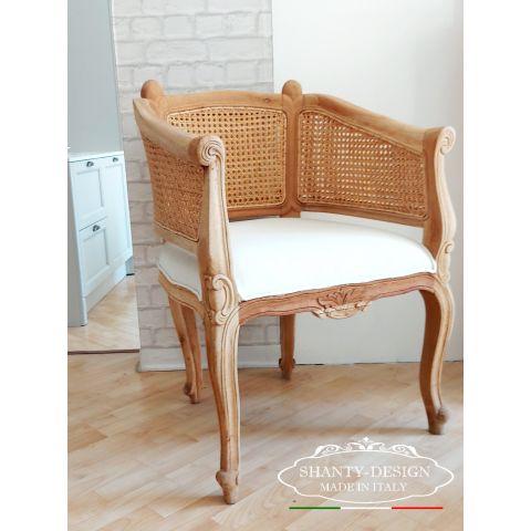 Poltrona Romantic Chic in legno di rovere naturale con imbottitura in cotone bianco INES 8