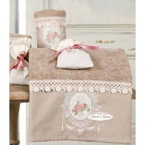 2 asciugamani ecru shabby biancheria bagno asciugamani for Accessori d arredo casa