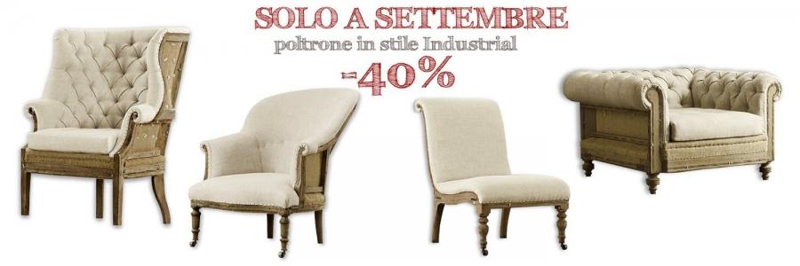 Poltrone in tessuto e legno stile industriale vintage vendita online e negozio roma
